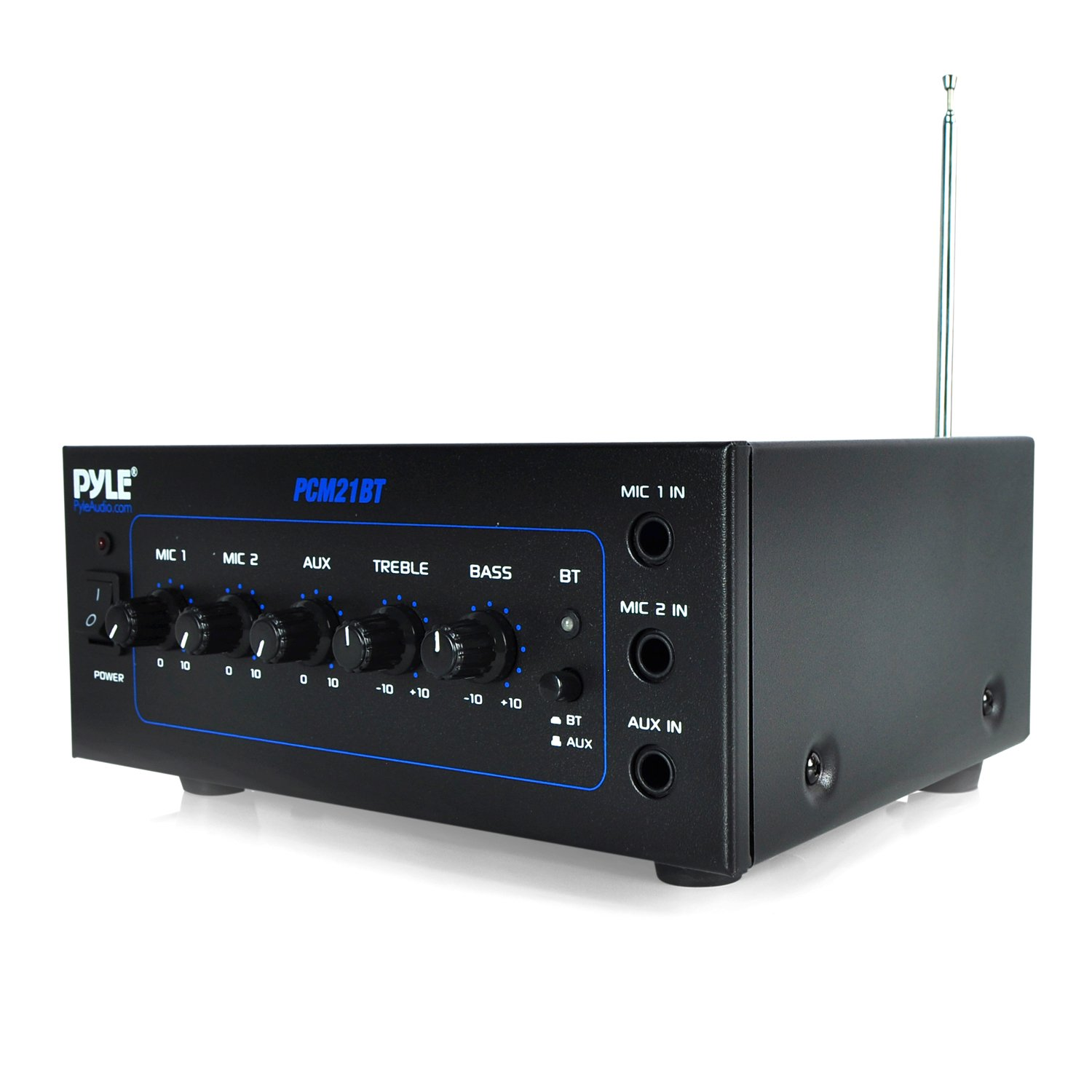 Pyle PCM21BT 70v Mini Bluetooth Power Amplifier with Two Microphone Inputs and Built in Equalizer - 40w
