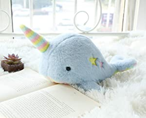 Joy Amigo Soft Narwhal Stuffed Animal Toy with Rainbow Belly and Tusk | Fluffy Narwhale Soft Whale with Horn | Cute Plush Sea Unicorn | Gift for Kids Nursery Decor Party Supplies | 12-Inch Large Size