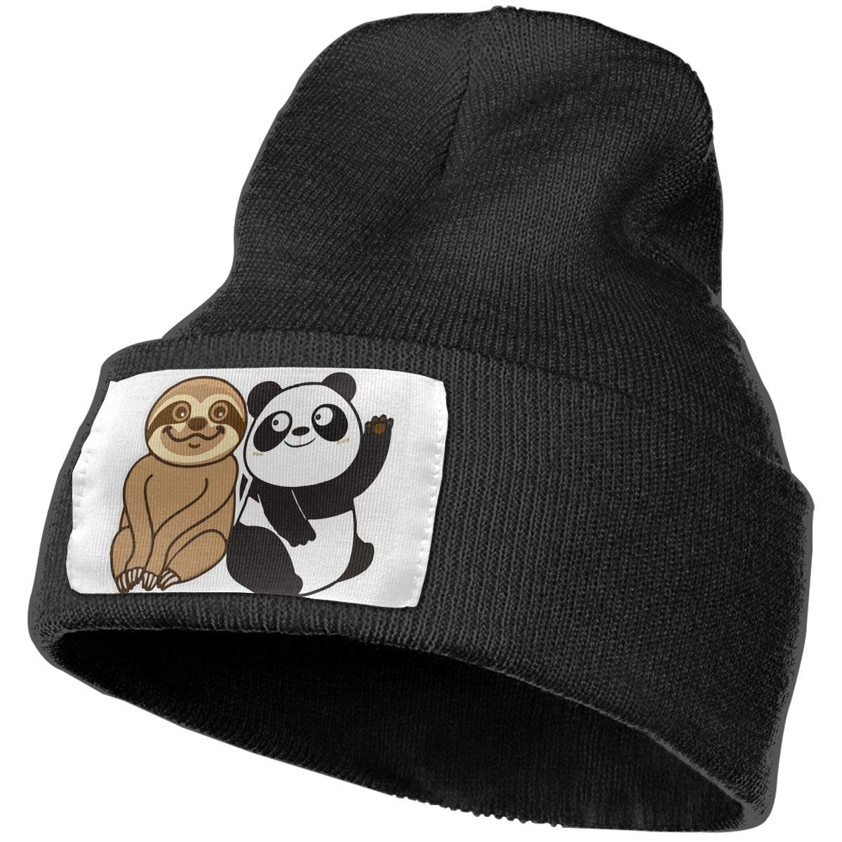 4c0ee4438aca9 Amazon.com  Sloth And Panda Beanie Hat Winter Warm Knit Hat Daily Slouchy  Outdoor Skull Cap For Men Women Watch Cap  Clothing