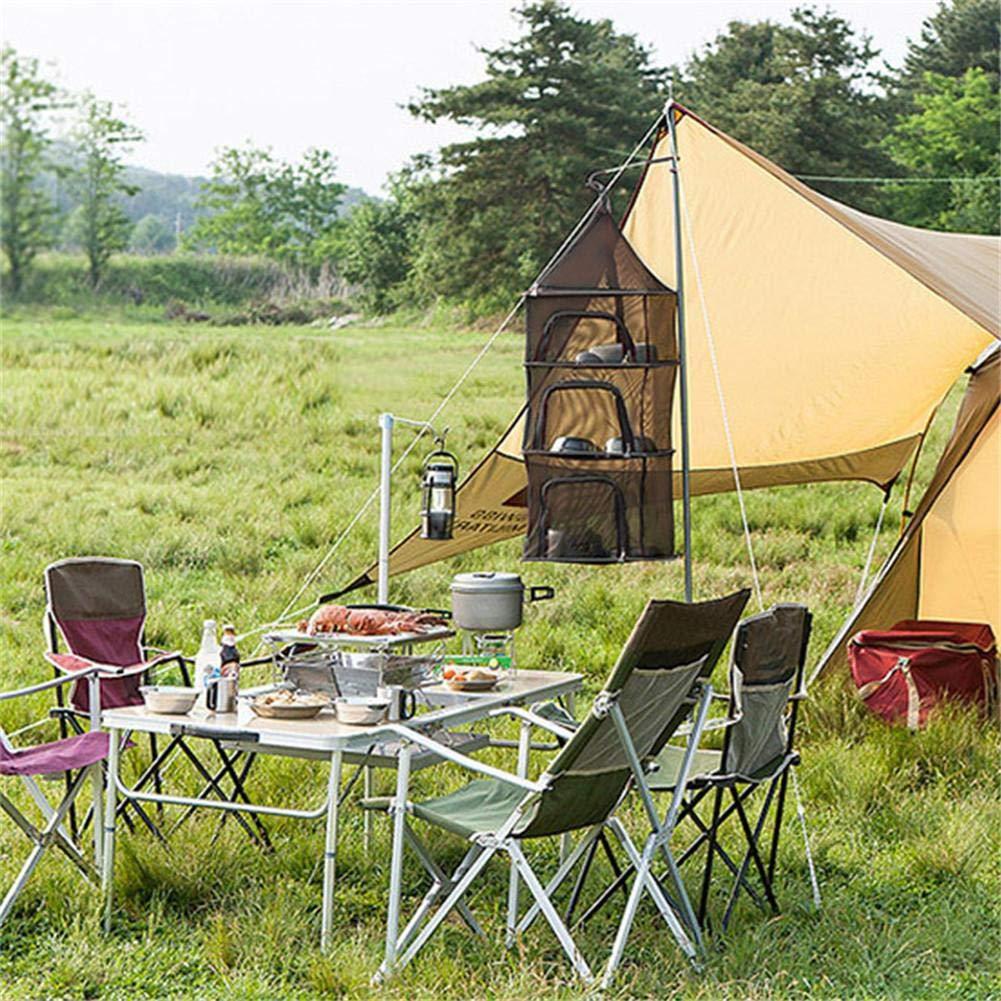 zusammenklappbares Picknickgeschirr aus trockenem Netzregal f/ür Camping im Freien smileyshy Zusammenklappbares Trocknungsnetz 4-lagiger Ablagekorb aus h/ängendem Gitter