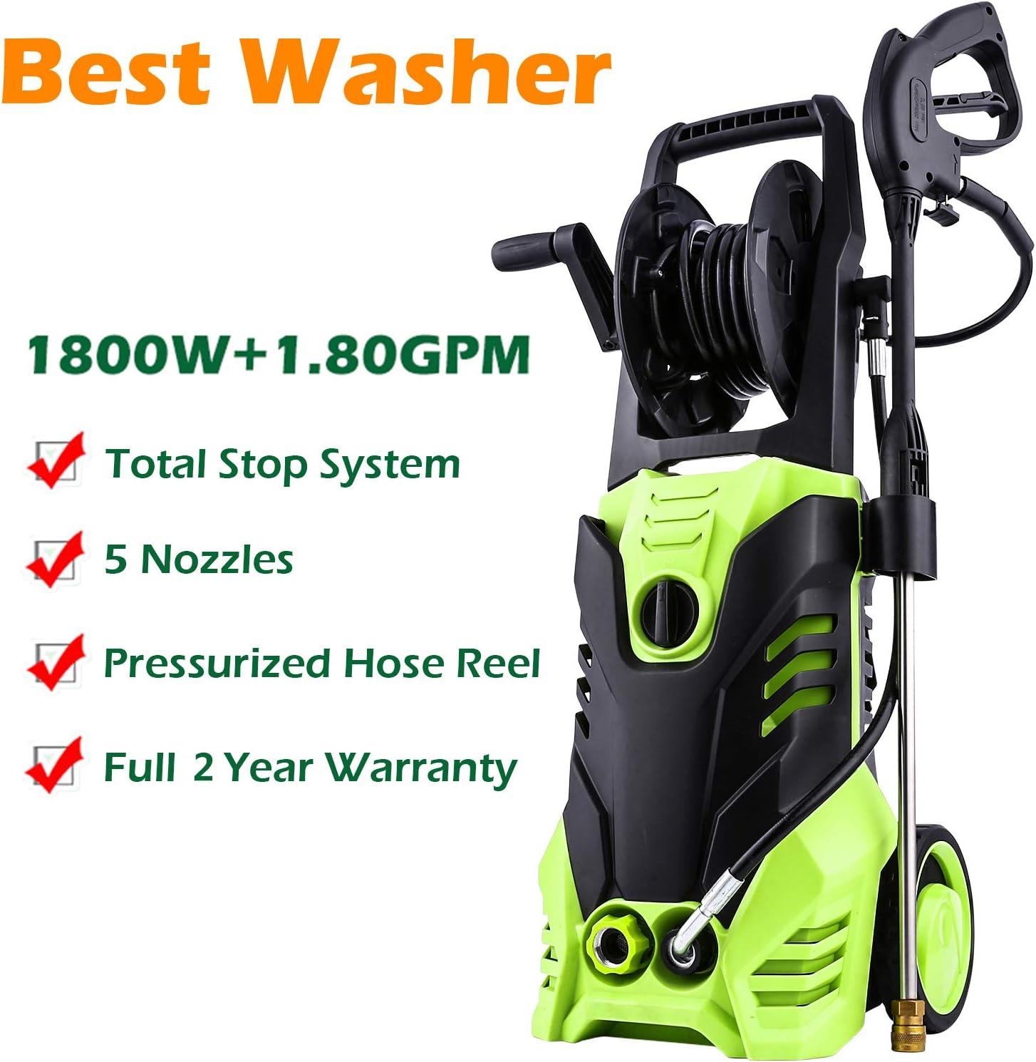 Homdox 3000 PSI Electric Pressure Washer, 1.80GPM High Pressure Washer, Professional Washer Cleaner Machine 1800W Green