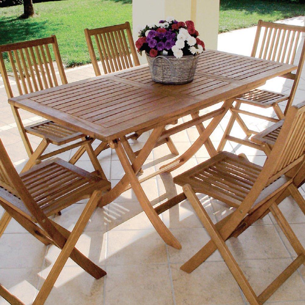 Tavolo allungabile pieghevole in legno di balau arredamento esterno ...