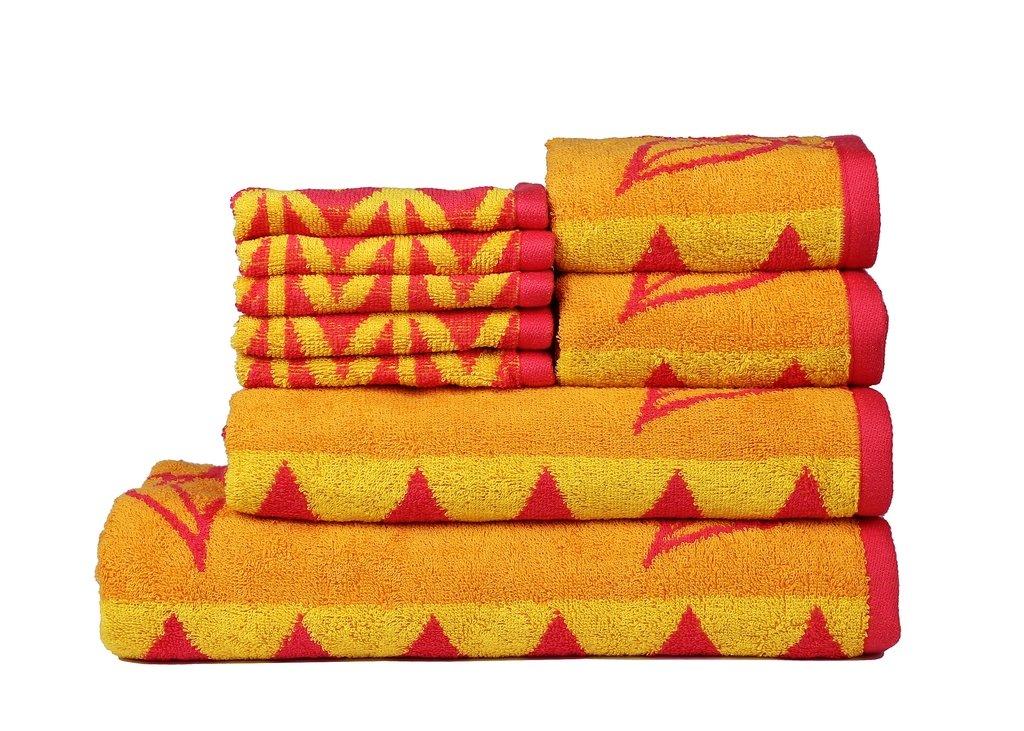Trident Floral Collection 425 GSM 9-Pieces (Bath, Hand & Wash Cloth) Towels Set, Purple FLJ09MWHF124