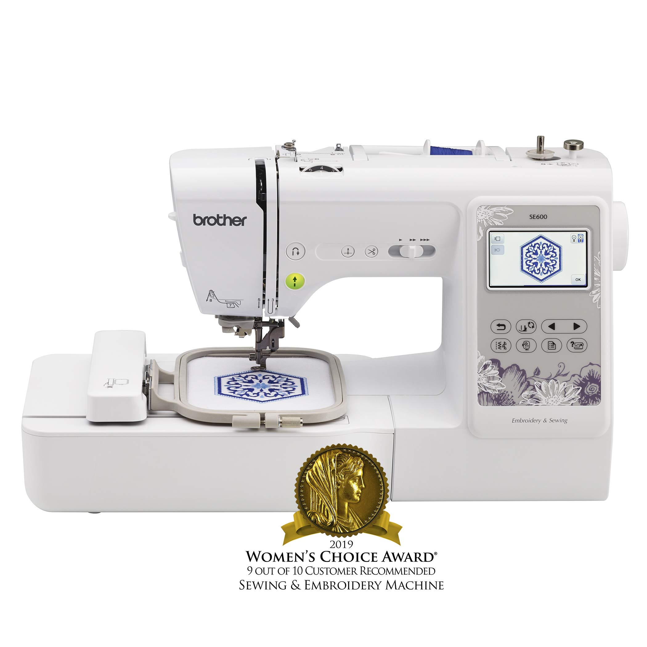 Brother Sewing Machine, SE600, Computerized Sewing and Embroidery Machine with 4'' x 4'' Embroidery Area, 80 Embroidery Designs, 103 Built-In Sewing Stitches, White by Brother