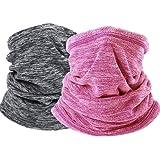 2 Pack HOME-MART Neck Warmer Gaiter Ski Winter Balaclava for Men and Women, Winter Face Mask Scarf Tube Cover Bandanas…