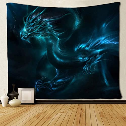 SARA NELL Tapestry Wall Tapestry Wall Hanging Blue Fire Dragon Tapestries,Wall Blanket Wall Art for Home Living Room Dorm Decor 60X90 Inches