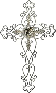 Adeco Metal Cast Iron Fleur De Li Crosses Wall Decor Large Scroll Golden Wall Hanging Decoration for Home Indoor Outdoor 27.5 x 17.7 inch
