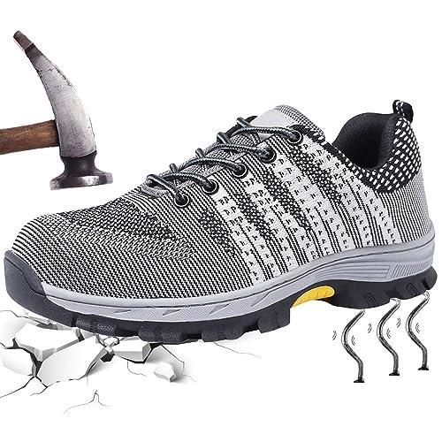 Zapatillas de Seguridad para Hombre Mujer Deportivos con Puntera de Acero Zapatos Antideslizante Transpirable Ligeras Calzado