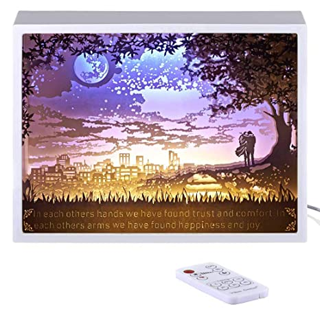Vibes Genius 928US Papercut Light Boxes Romantic Lover Valentines Day Love Style Unique Birthday