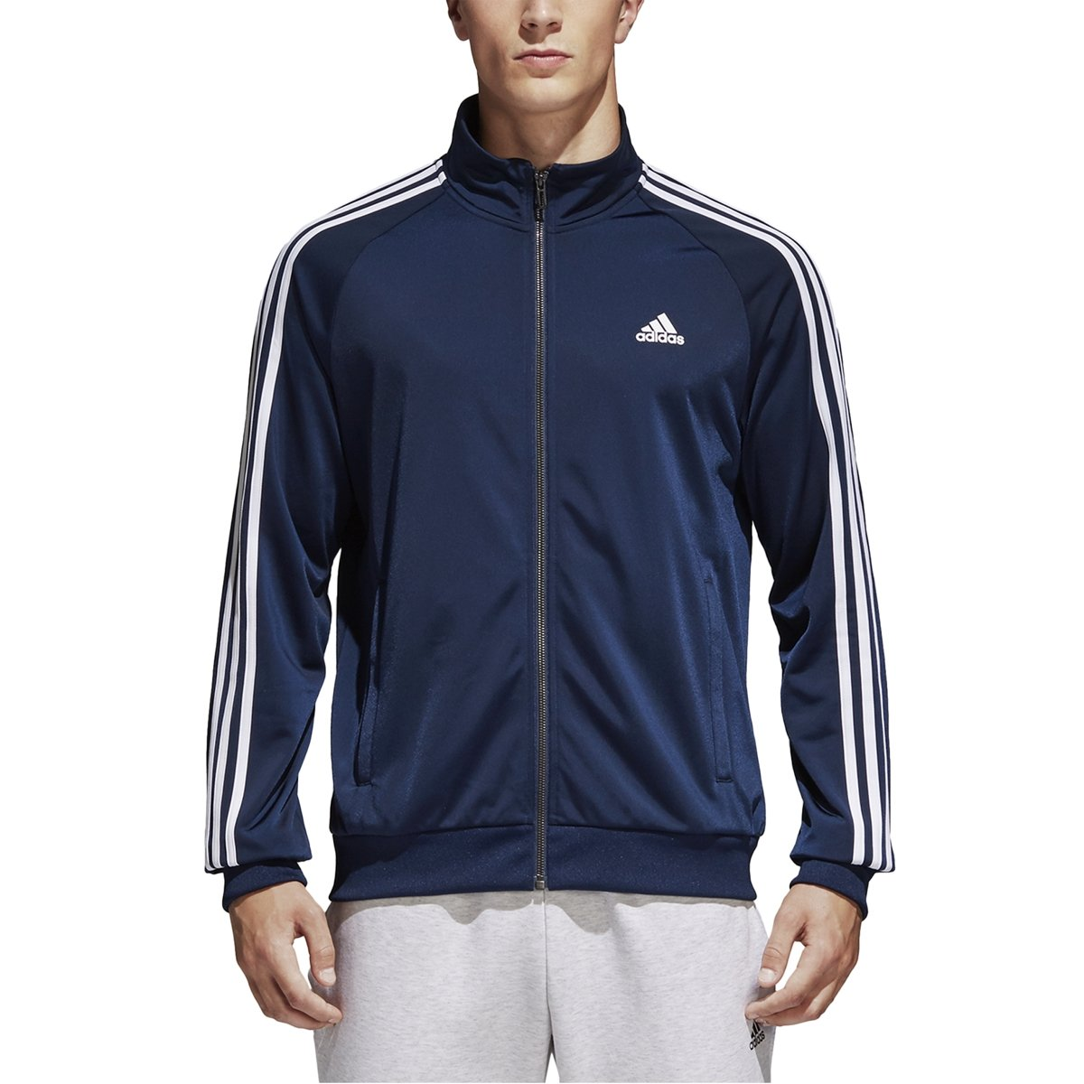 adidas Essentials 3S Tricot Track Jacket Men's All Sports LT Collegiate Navy-White