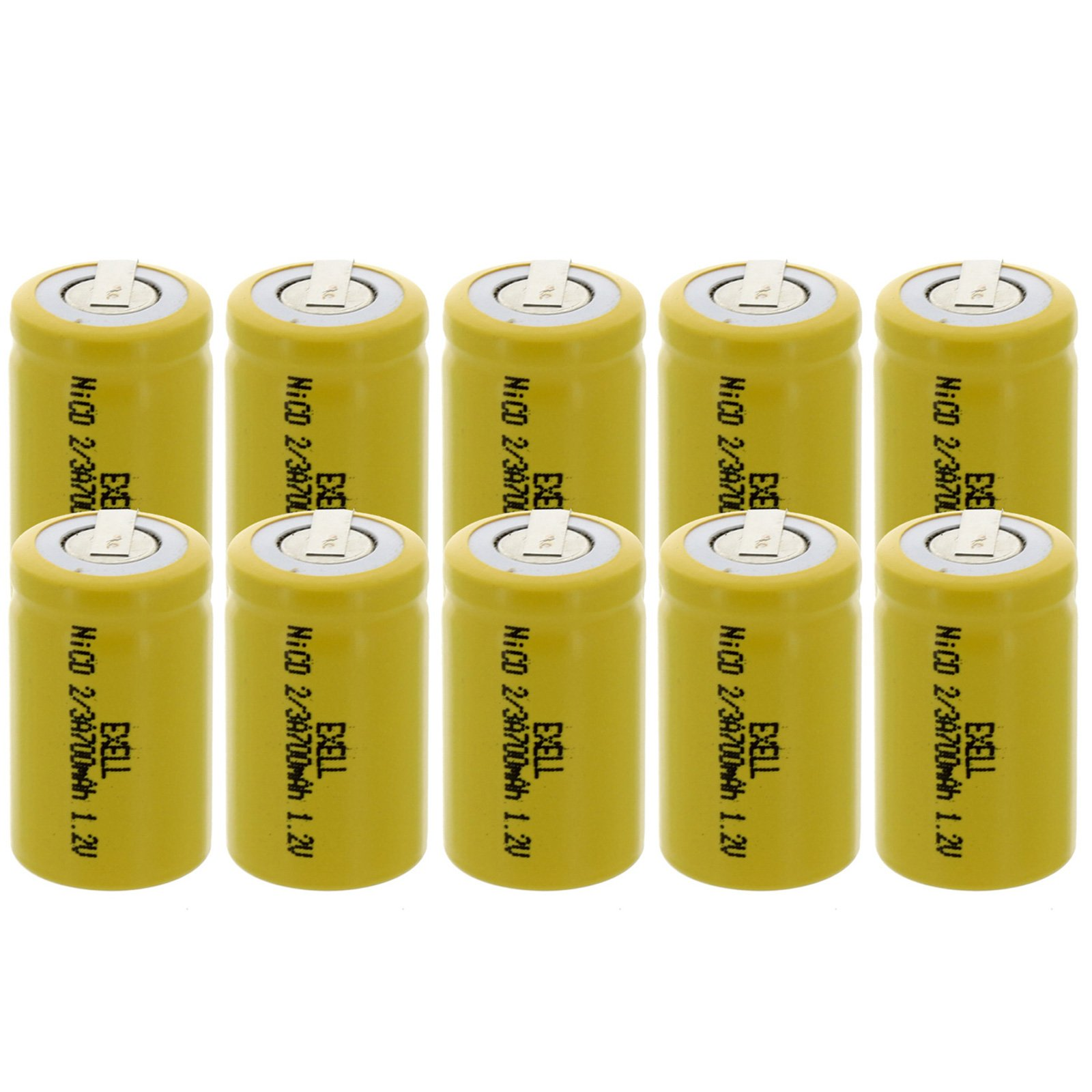 10x Exell 2/3A Size 1.2V 700mAh NiCD Rechargeable Batteries with Tabs for high power static applications (Telecoms, UPS and Smart grid), electric mopeds, meters, radios, RC devices, electric tools by Exell Battery
