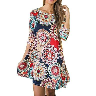 Damen Blumenkleid Siebenviertel Ärmel A-Line Kleid Maxikleider Drucken  Strandkleid Vintage Abendkleid Hohe Taille Elegant 62bc268d67
