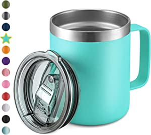 12oz Stainless Steel Insulated Coffee Mug with Handle, Double Wall Vacuum Travel Mug, Tumbler Cup with Sliding Lid, Mint