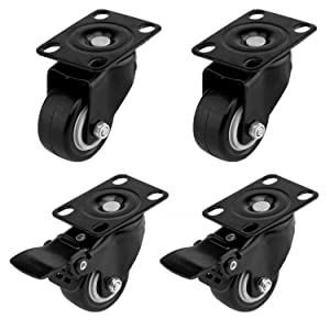 ULIFESTAR 4 PCS 1.5 inch Heavy Duty Caster Wheels Polyurethane PU Rubber Swivel Casters with Top Plate & Strong Bearing Total 400lb Quite Mute Non-Marking Locking Stem Casters Black (1.5'')