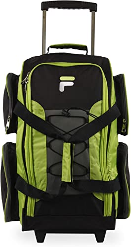 Fila 22 Lightweight Carry On Rolling Duffel Bag, Neon Lime, One Size