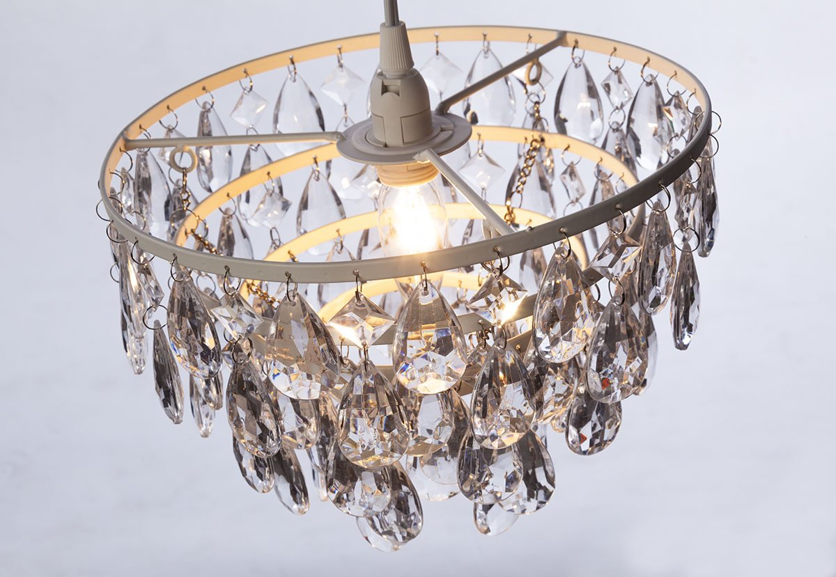 The Original Gypsy Color 3 Light Mini Plug-in Crystal Chandelier for H17 W12 White Metal Frame with Clear Acrylic Crystals Better Than Glass