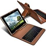 """ONX3 Sharp AQUOS Pad SH-06F 7"""" (Brown) 超薄型調節可能なタブレットケースマイクロUSB接続付きのAndroidタブレット用QWERTYキーボードスタンドカバー"""