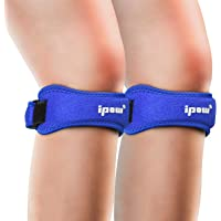 IPOW 2 Pack Knee Pain Relief & Patella Stabilizer Knee Strap Brace Support for Hiking, Soccer, Basketball, Running, Jumpers Knee, Tennis, Tendonitis, Volleyball & Squats