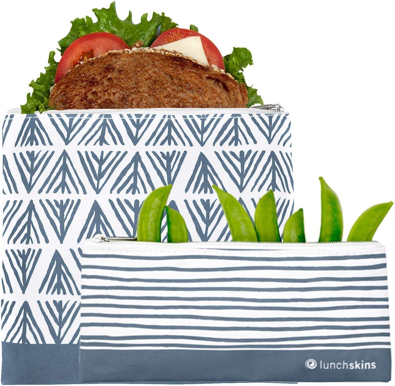 Lunchskins Reusable 2 Piece Zippered Food Storage Bag Set, 1 Sandwich Bag + 1 Snack Bag, Blue Geometric