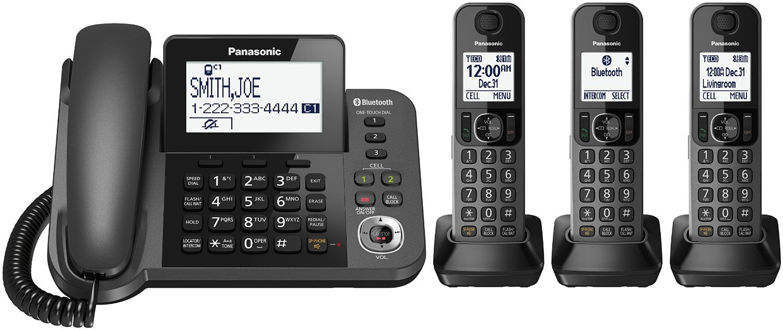 Panasonic KX-TGF383M DECT 6.0 Plus Corded / Cordless 3-Handset Landline Telephone System (Certified Refurbished)