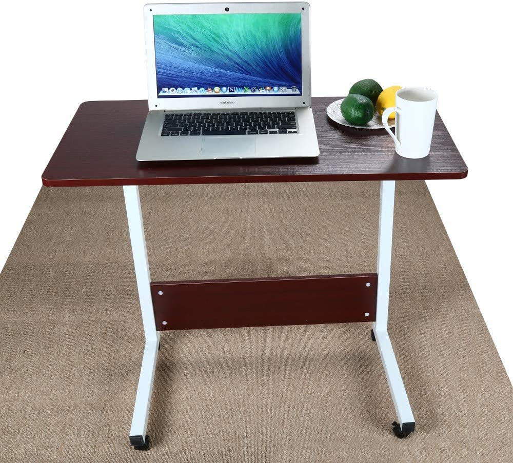 Lifting Computer Desk, Home Office Can Be Raised and Lowered Mobile Computer Desk, Height Adjustable Computer Desk, 31 x 16 inch, US Stock, Red
