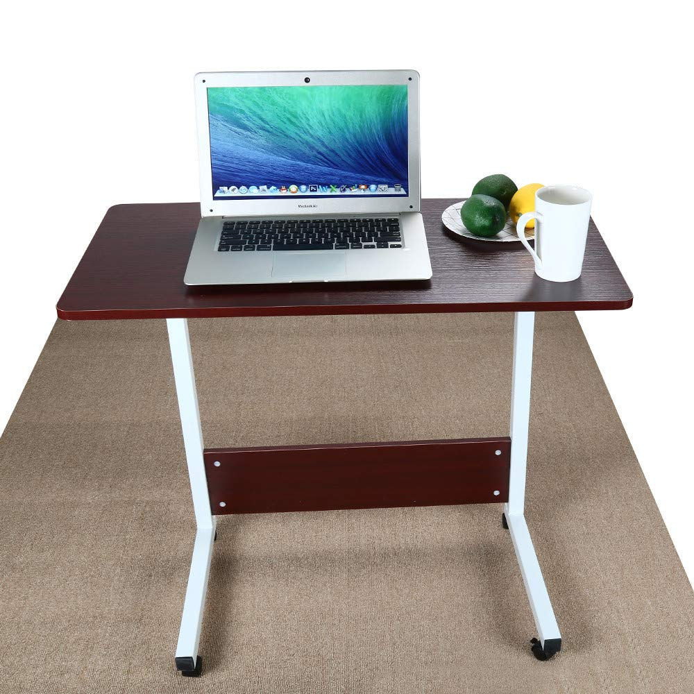 Fulijie Home Office Desk Raised Lowered Movement Computer Writing Desk Wood and Metal Laptop Table (Wine) by Fulijie Home Office Furniture
