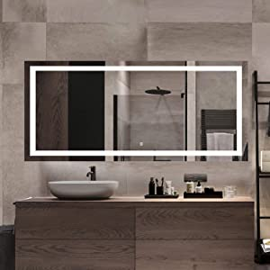 """MAIHAUZ 72x30Inch LED Lighted Bathroom Mirror Wall Mounted Dimmer Touch Switch IP44 Waterproof 6500K Cool White CRI>90 Vertical& Horizontal(ALVA 72X30Inch )"""" /></a></div> <div class="""