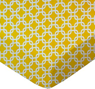product image for SheetWorld Fitted Sheet (Fits BabyBjorn Travel Crib Light) - Lemon Yellow Links - Made In USA