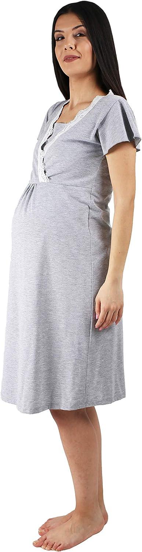 MamiMode Umstands-Nachthemd mit Stillfunktion und Spitze Detail Pyjama f/ür Schwangere Damen Stillshirt Kurzarm M.M.C