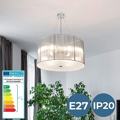 Lámpara de Tela | Ø 50cm, 4xE27, A++ hasta E, Colores a Elegir, Retro | Lámpara Colgante Techo Plafón, Luz de Techo, Iluminación de Interior | para ...