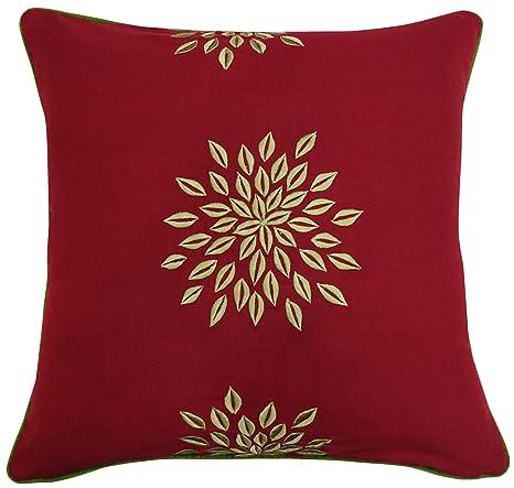 S4SassyCojín algodón marrón funda de almohada bordada floral ...