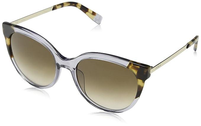 Furla Eyewear Damen Sonnenbrille, Grau (Shiny Transparent Grey), 55