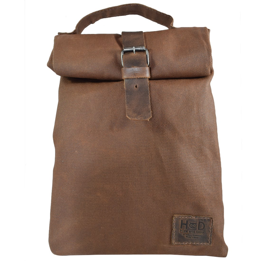 Waxed Canvas Insulated Reusable Lunch Bag w/Grip Easy Carry for Work/Travel Handmade by Hide & Drink :: Honey Bourbon