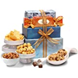 Broadway Basketeers Thinking of You Gift Tower Basket of Snacks, Cookies, Chocolates and Items for Father's Day, Birthday, Ge