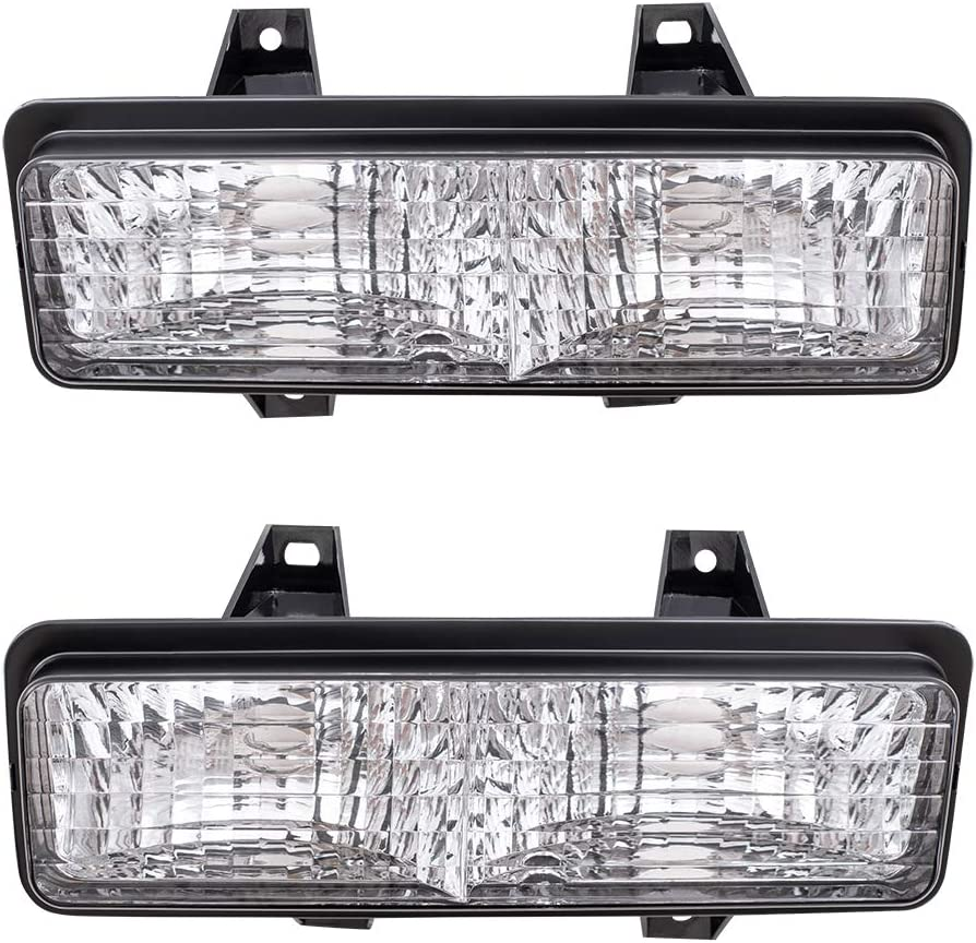 Brock Replacement Passengers Park Signal Corner Marker Light Lamp Lens with Chrome Trim Compatible with 1992-1995 4-Wheel Drive Pickup Truck 8161035120