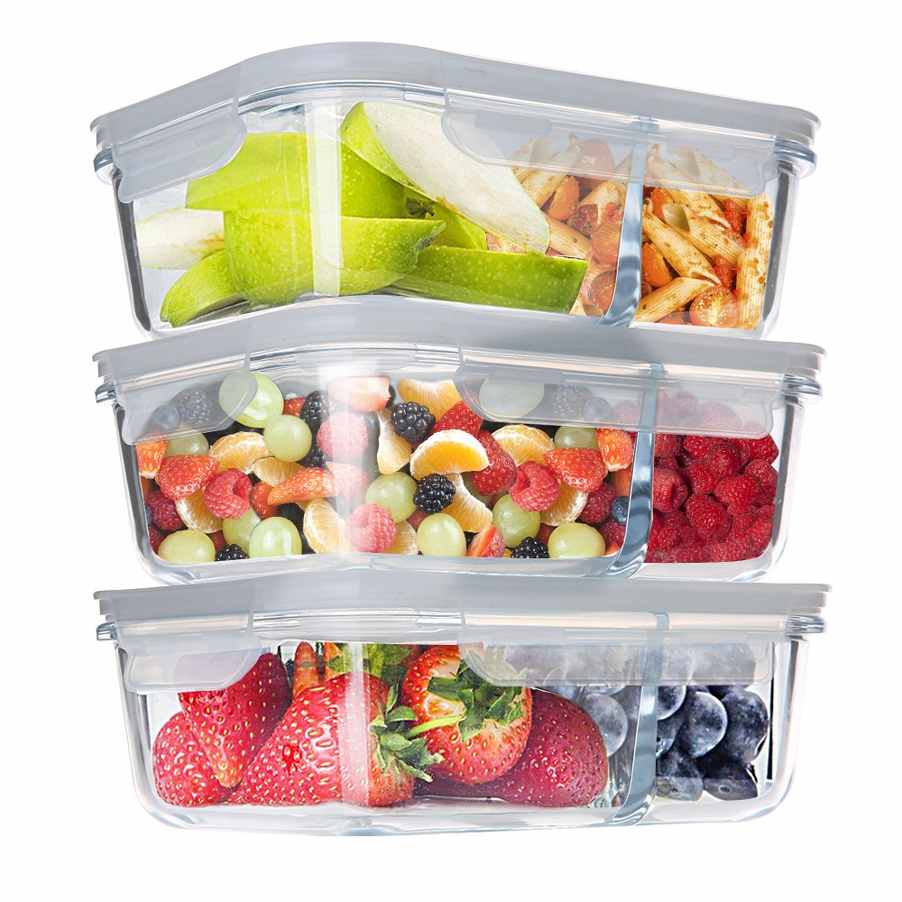 Homgeek Glass Food Storage Containers 2 Compartment Meal Prep Containers Portion Control Lunch Box with Snap Locking Lids, Leak proof, Microwave, Oven, Freezer & Dishwasher Safe(3-Pack, 32 Oz)