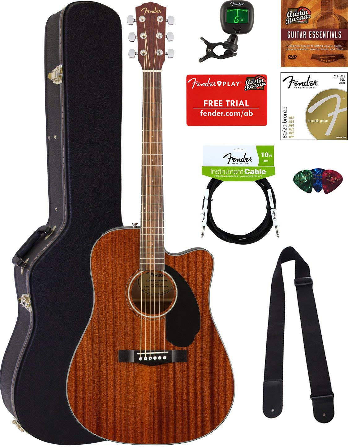 Fender CD-60SCE Dreadnought Acoustic-Electric Guitar - All Mahogany Bundle with Hard Case, Tuner, Strap, Strings, Picks, Austin Bazaar Instructional DVD, and Polishing Cloth by Fender