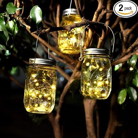 glass jar lighting metal glass solar mason jar lights waterproof glass lights with lid insert for garden patio decoration party amazoncom