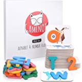 GAMENOTE Alphabet and Numbers Flash Cards - Wooden ABC Letters Matching Puzzle Game Montessori Toys for Toddlers Educational