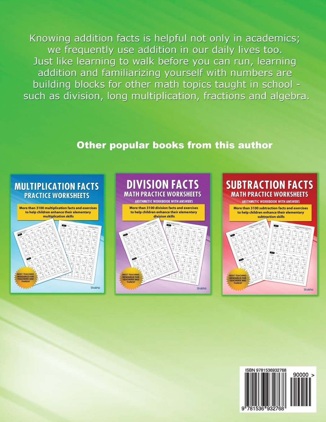 Addition Facts Math Practice Worksheet Arithmetic Workbook With ...