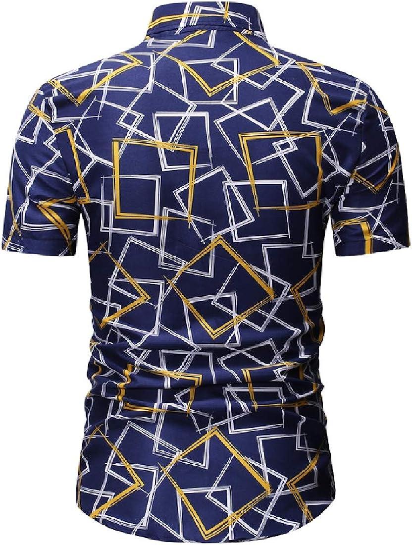 Fenshuda-men clothes Mens Short Sleeve Leisure Non-Iron Summer Geometric Print Shirt