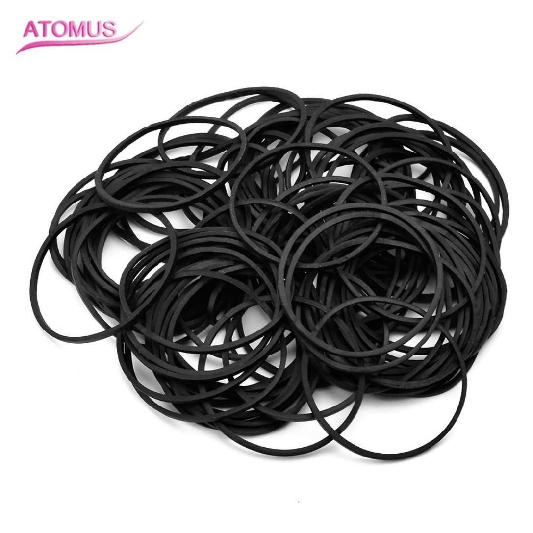 Huphoon 100 Pcs Fashion Mini Black Rubber Hair Elastic Braids Plaits Braiding Band Not hurt the hair Headwear