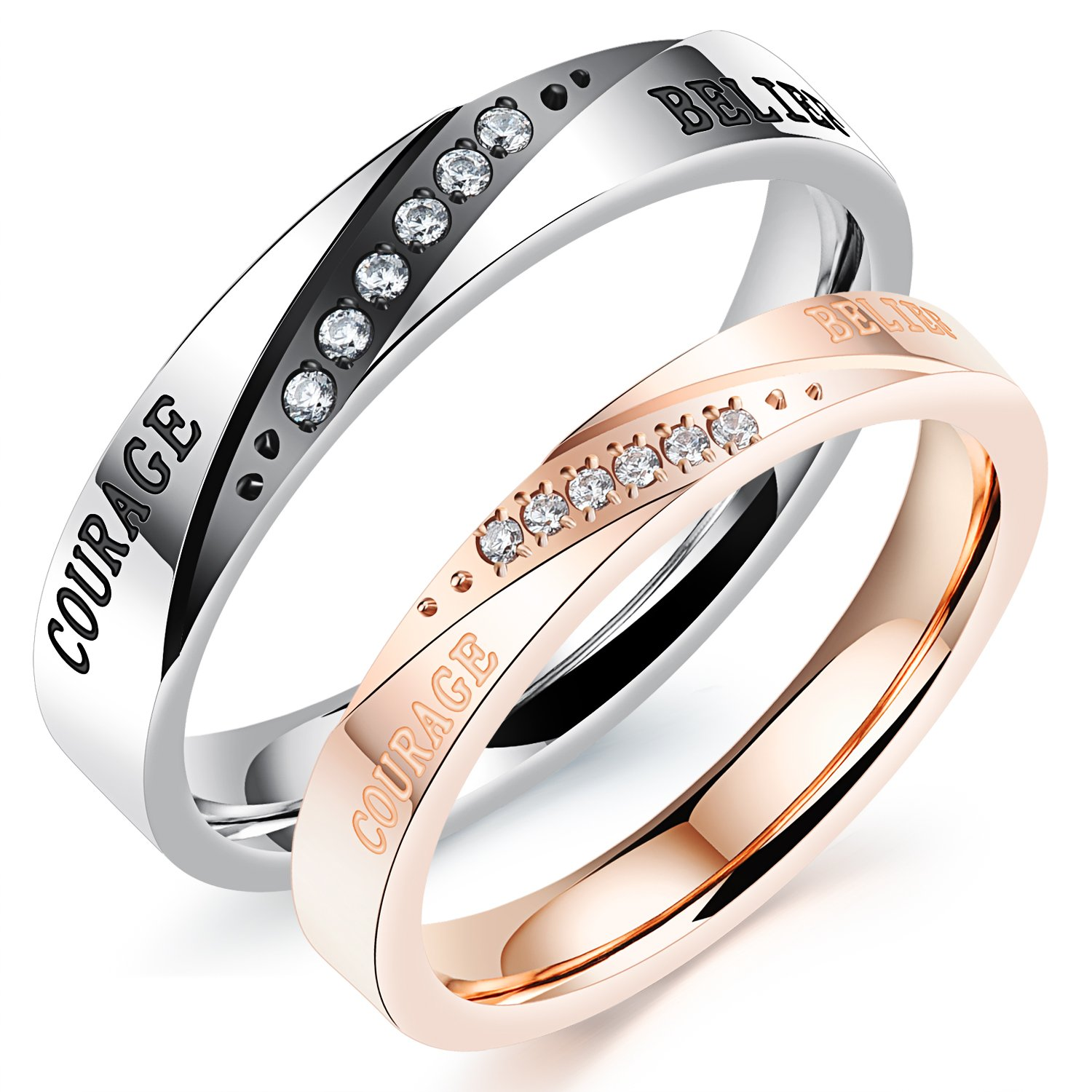 His or Hers Matching Set Belief and Courage Couple Ring Simple Korean Style SunnyHouse Jewelry