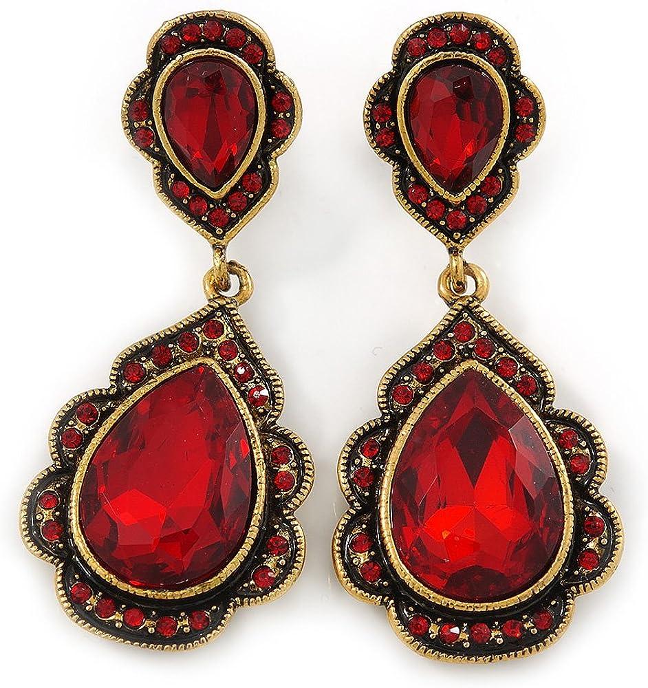 Vintage Rojo Rubí Cristal Bead Pendientes de lágrima en dorado antiguo–50mm L