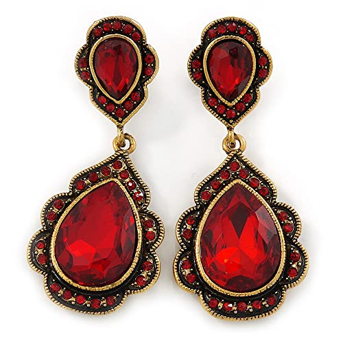 Vintage Inspired Ruby Red Crystal Teardrop Clip On Earrings In Antique Gold Tone - 40mm L JXslw