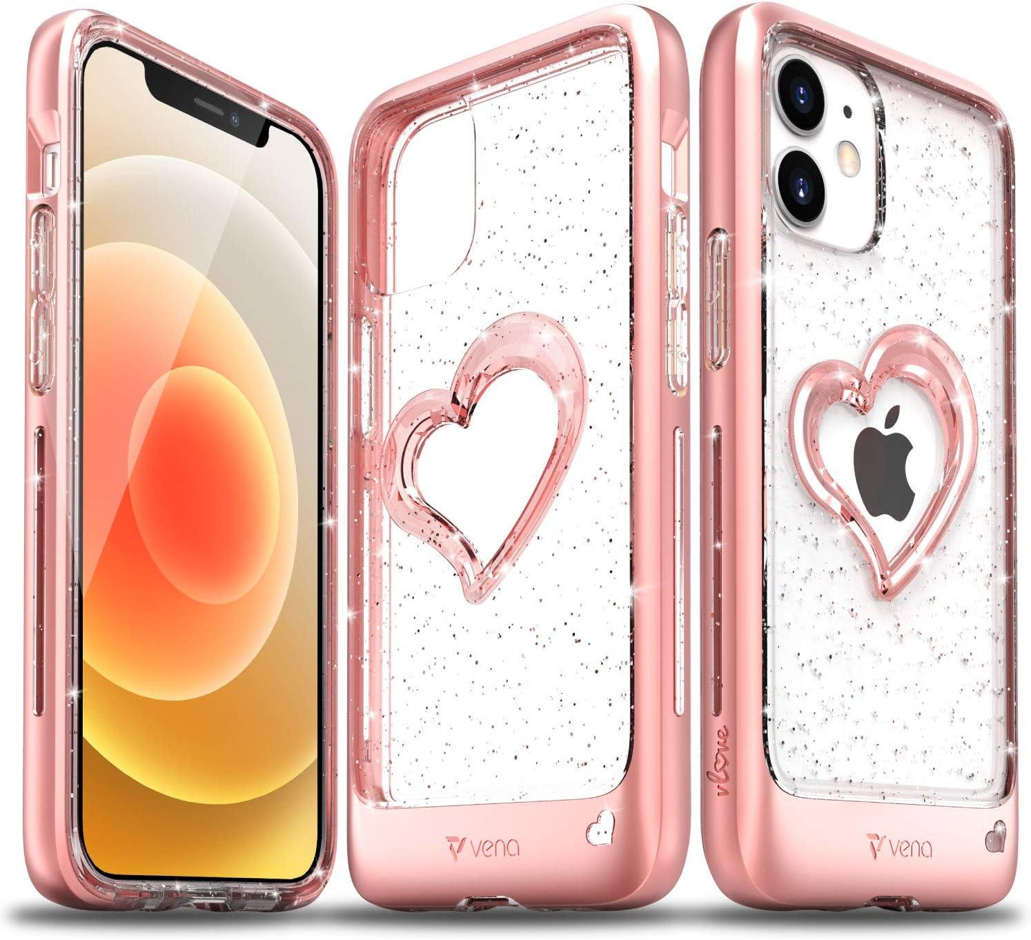 VENA vLove Cover Glitter Trasparente Compatible con Apple iPhone 12 Mini (5.4