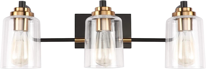 SOLFART 3 Head Vintage Bath Vanity Light Wall Bathroom Over Mirror Modern Glass Shade Light Fixtures (3 Lights-Exclude Bulb)