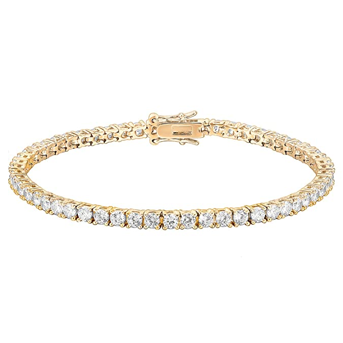 Vintage Style Jewelry, Retro Jewelry PAVOI 14K Gold Plated Cubic Zirconia Classic Tennis Bracelet | Gold Bracelets for Women | Size 6.5-7.5 Inch $14.95 AT vintagedancer.com