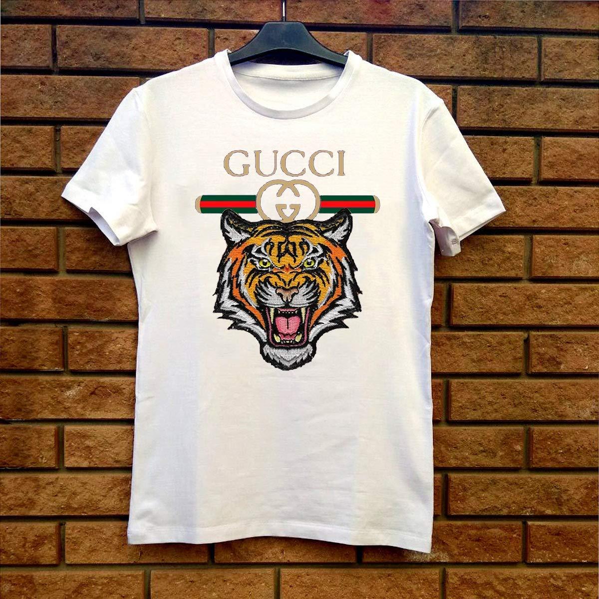 05871a24 Amazon.com: Gucci Vintage Shirt Tiger For Men Women White Shirt ...