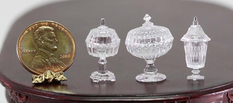 Dollhouse Miniature Chrysnbon Set of 3 Clear Candy Jars
